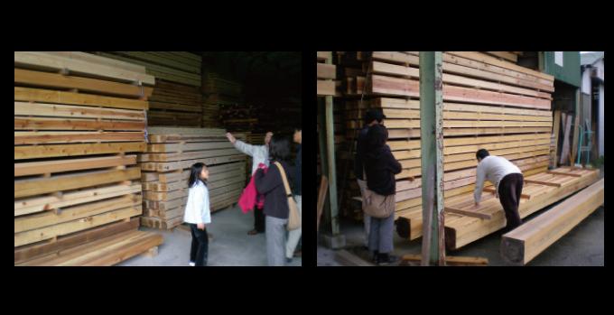 木材市場にて